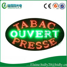Animation oval shape for TABAC OUVERT PRESS shinning letter indoor shop LED window sign