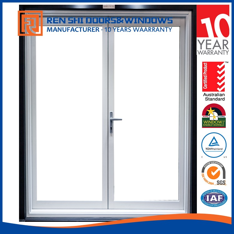 Renshi aluminum themal insulation anti theft casement door with double tempered glass