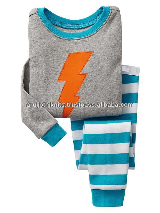 Embroidery long sleeve pajama set for kids Boys