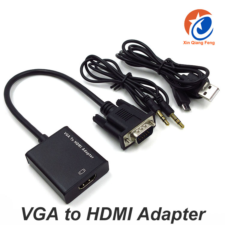 High quality Black VGA male To HDMI female Adapter Converter Cable 1080P for Laptop Computer HDTV