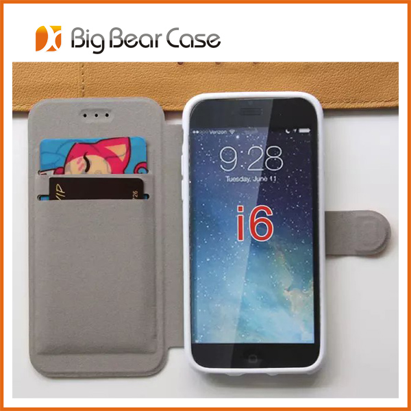 Factory PU leather flip cover mobile phone case for iphone 6