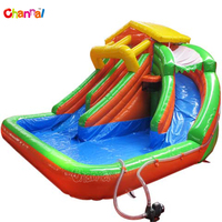 Kids water play area inflatable water slide with pool