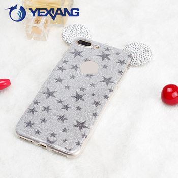 Luxury 3D Ears With Bling Glitter Color Soft TPU Case For iPhone 7