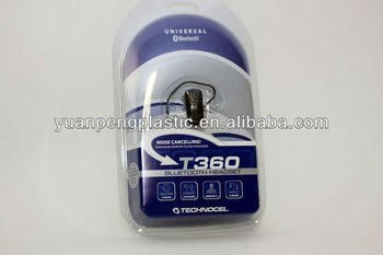Custom clear bluetooth headset package with printed card,assembly and heat seal service is available