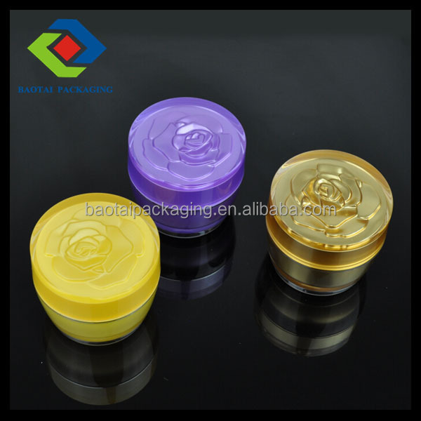 China manufactory supplier Special shape flower tapered acrylic face cream jar