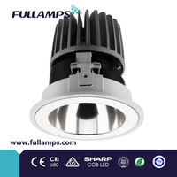 Fullamps high power 18W cob led downlight commercial spot light for project fixed reflector diffuser recessed ceiling light