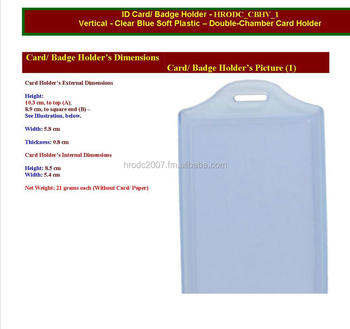 Card Holders; Vertical Badge Card Holders, Clear Blue, CR80 Cards, Double Chamber Soft Plastic