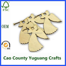 Wooden engrave christmas tree ornaments wooden angel with wings