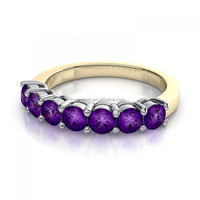 Luxury 14k yellow gold seven stone gemstone mystic amethyst ring women