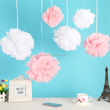 12pcs Mixed 3 Sizes White Pink Tissue Paper Pom Poms, Flowers For Wedding, Party, Baby Girl Room Nursery Decoration