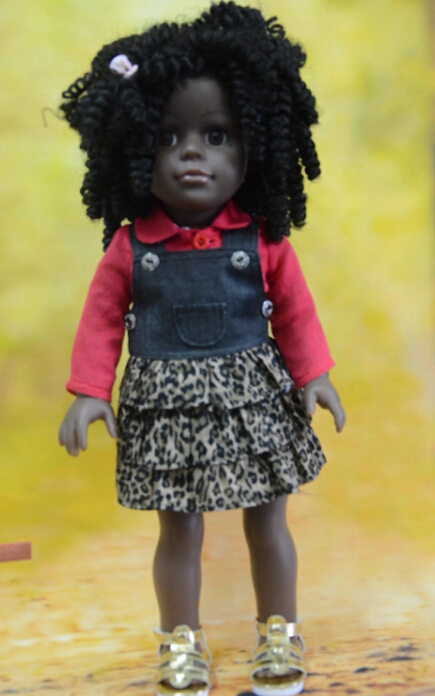 "dark skin tone doll american girls/18"" make custom vinyl toys/wholesale black fashion doll with curly hair"