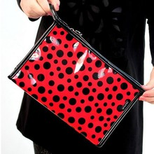 Bz6061 Patent leather color blocking spot printed portable cosmetic bags