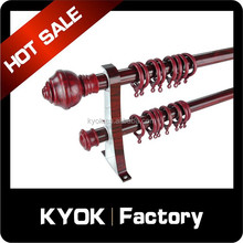 KYOK China Style! Alloy Adjustable Curtain Rod Series, Flexible Wood Grain Curtain Poles/Pipes/Tubes System
