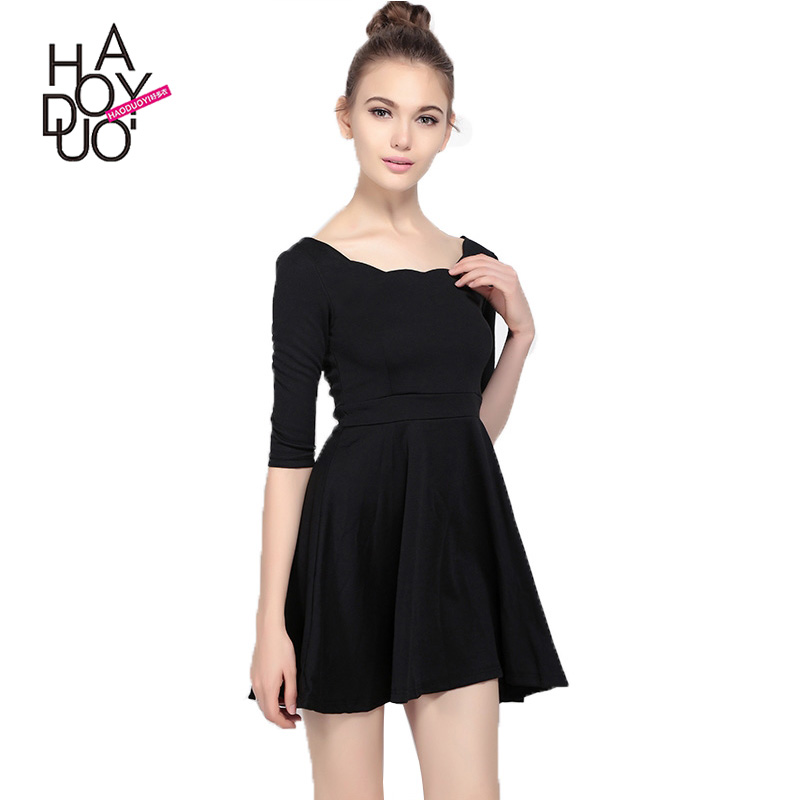 HAODUOYI Women Black Backless Mini <strong>Dress</strong> Female Fancy Scalloped Neckline <strong>Dresses</strong> Ladies High Waist A-line <strong>Dress</strong> For Wholesale