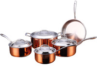 triply copper tri-ply 3 ply clad metal cookware set mirror polish sauce pot with stainless steel lid
