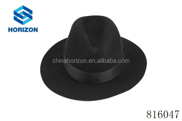 Wool Felt Wide Brim Black Fedora Hats For Women And Men