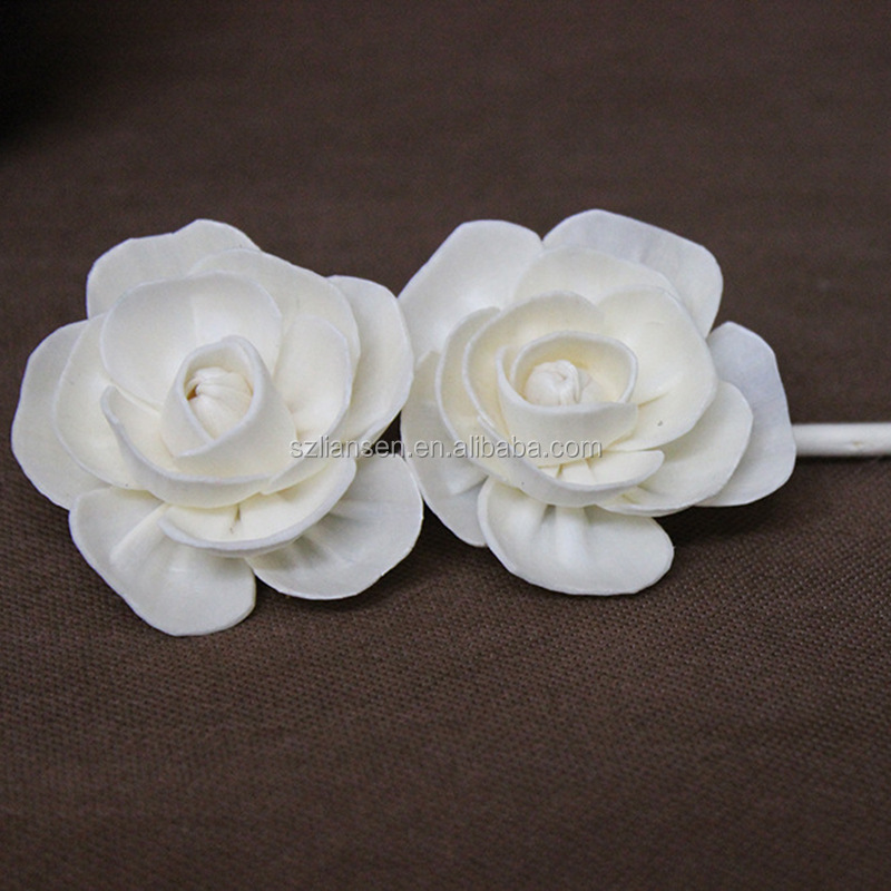 LIANSEN aritifical handmade white sola wood flower