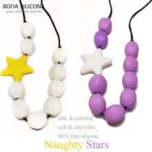 ruuber toy teething necklace wood silicone necklace