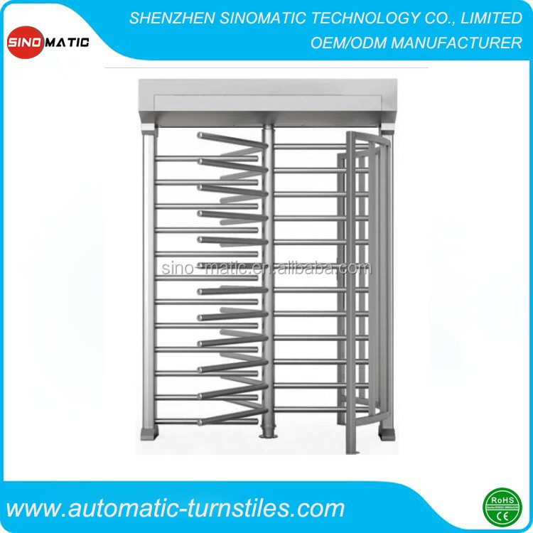 Secured Entry Control 304 stainless steel full height industrial turnstile