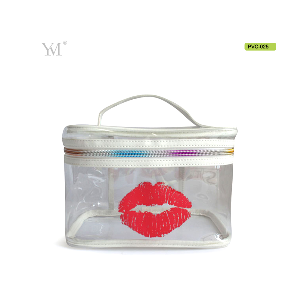 2017 lip customized printing promotional cosmetic bag wholesale waterproof pvc zipper bag with handle