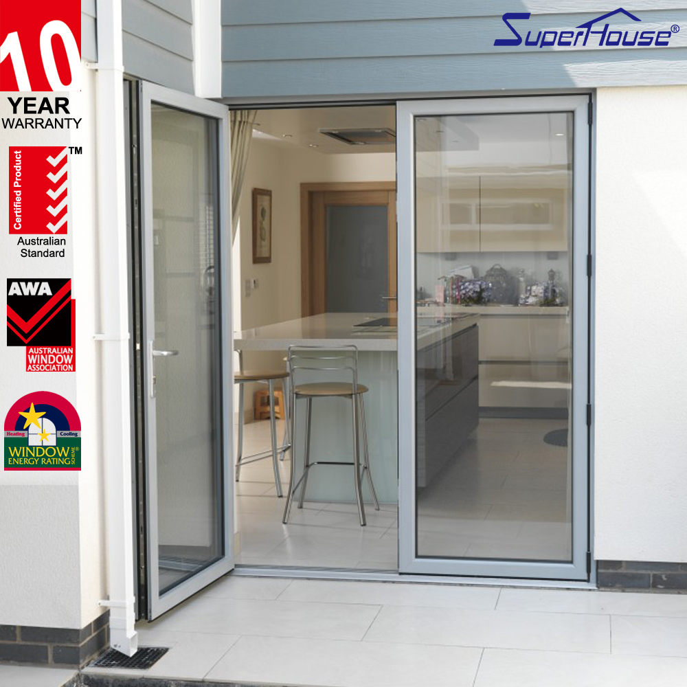 Soundproof frosted glass interior french doors fiber glass aluminum pivot door comply with IGMA