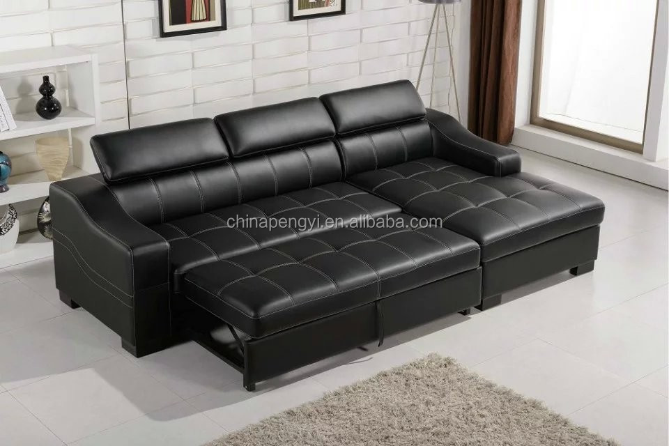 Black leather bed sofa sofa leather sofa bed l shape sofa - Sofa cama en l ...