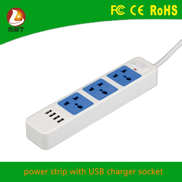 3 outlet power strip with 4 usb ports multi electrical extension socket