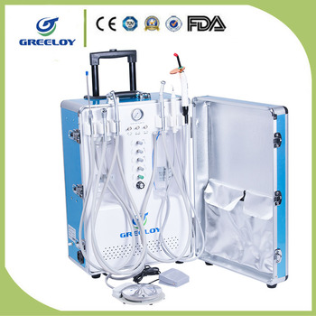 Portable dental unit cart suitcase with silent air compressor