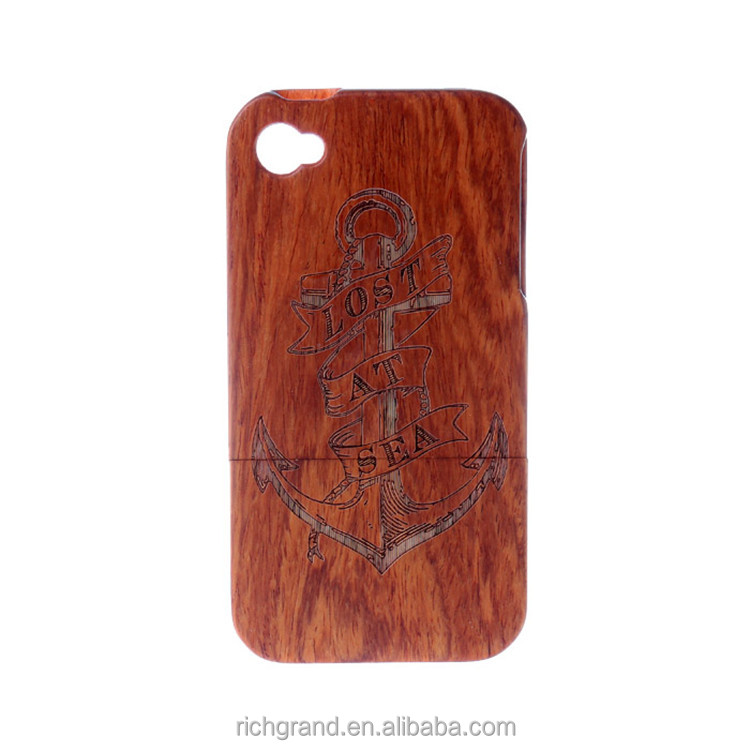 For iPhone 5 6 6plus Dark Wood Grain high quality Boat Anchor Pattern Wood Case