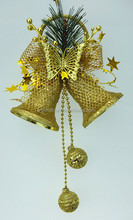 gold plastic christmas bell ornament