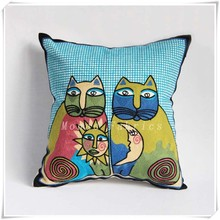 Crewel Embroidery Cat Pattern Cotton Sofa Cushion Covers