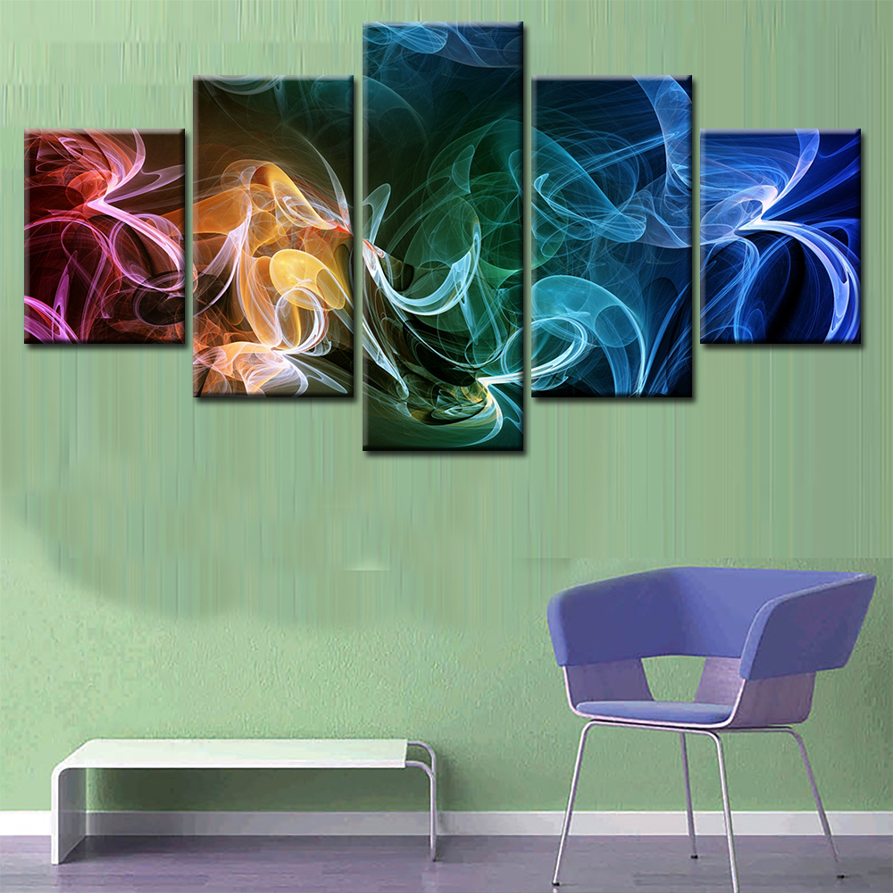Modern Canvas Painting HD Pictures Living Room Decor 5 Pieces Abstract Poster Printed Modular Wall Art Framework
