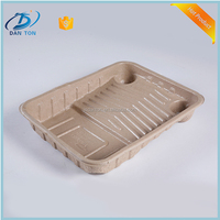 custom printed logo protable paper pulp disposable meal tray for adult