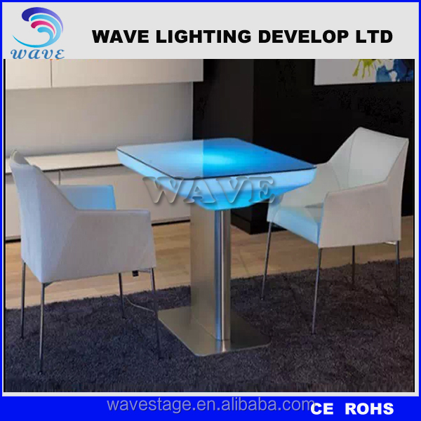 Factory export Illuminated led furniture PE bar/coffee/tea/party table with steel base & remote control lights