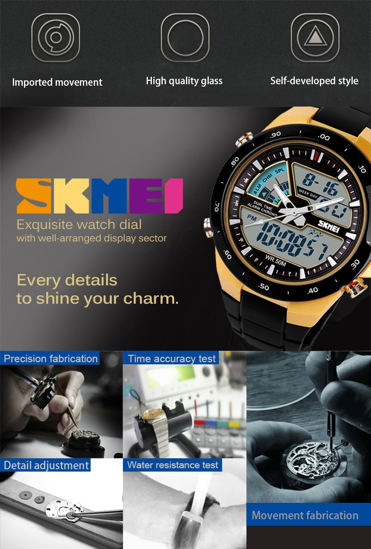 SKMEI Sport Digital Solar Watches Men With Free Instructions