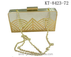 2015 Fashion Handbag Acrylic Transparent Gold Clutches,Evening Bags/ Clutch Bags/ Party Bags