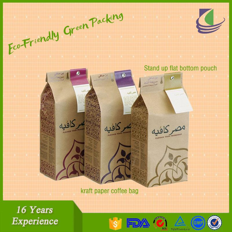 High Quality Heat Seal Empty Packaging Stand Up Zip Lock Kraft Paper Tea Bag Manufacturers