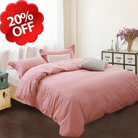 standard queen,king sizes best selling top quality embroidered solid pink color hotel bedding