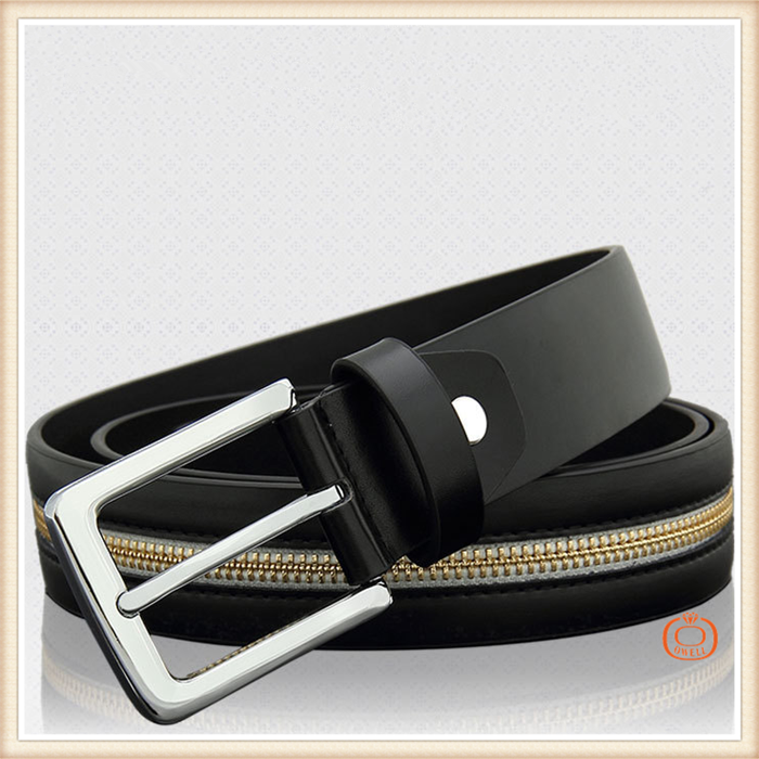 Fashion selfdom zipper decorate belts design needlepoint cow leather belt