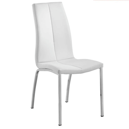 Modern white leather upholstered high back chrome legs dining <strong>chair</strong>