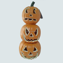 Halloween easy artificial carving craft decor pumpkin light with PU Stack Round 24 inches