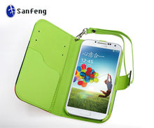 Best pu leather case for new samsung galaxy s4 i9500 card slots with sling cover