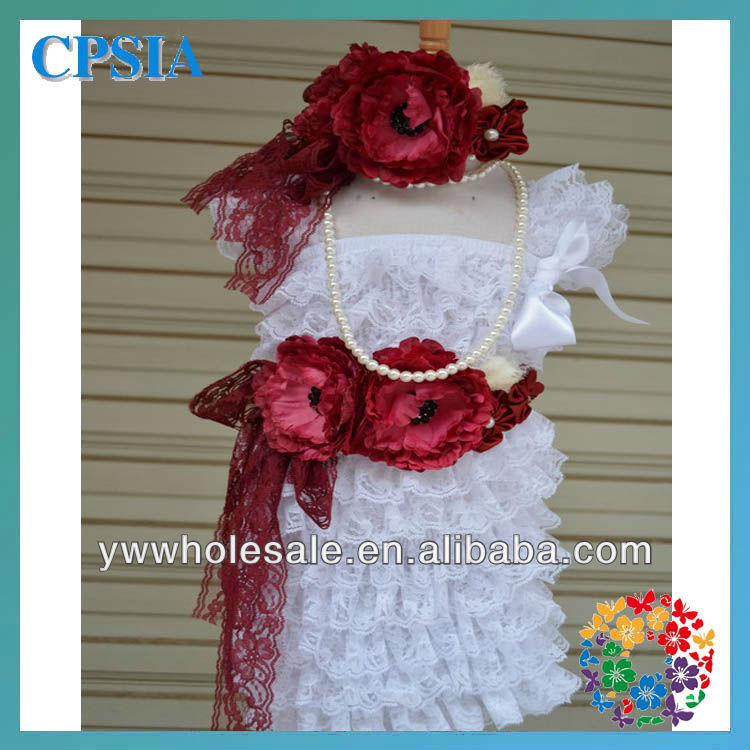 Lace Dress Sets Vintage Girl White Lace Flower Dress With Headband Set Baby Girls Tutu Dress Sets