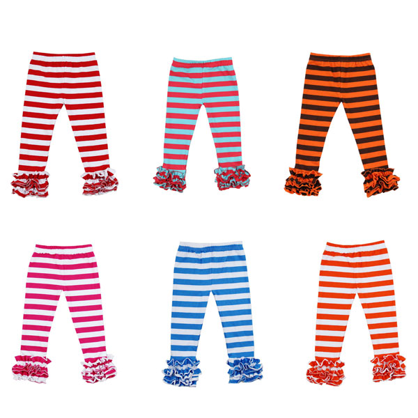 2017 baby fashion clothes online girls stripe cotton icing pants wholesale baby clothes leggings
