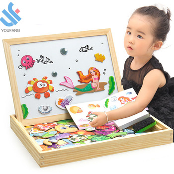 YF-X3010-14 new design toddlers baby educational folding cartoon double-sided kids wooden puzzle magnetic drawing board