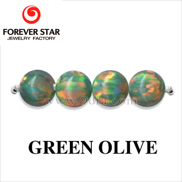 2GC03073A Green Olive Color 3.5mm Opal Created Gemstone Beads