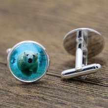 Polar Bear cufflink Bear Jewelry Arctic Ocean Animals Nature Art cufflink Bear print glass cufflink