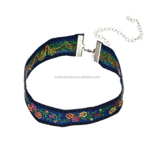 Fashion Women Bohemian Ethnic Style Handmade Embroidery Fabric Choker Necklace Jewelry