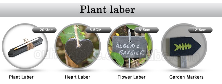 Eco-friendly natural slate stone plant label with wooden stick