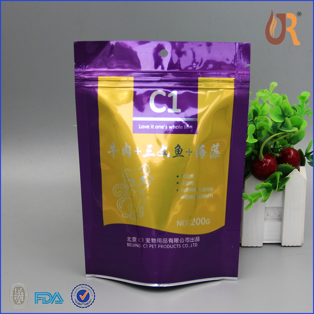 recyclable different type dog/cat food packaging slider zipper bag direct manufacturer in china